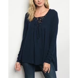51bf521fef JED Women s Ribbed Knit Hooded Lace-Up Tunic Top