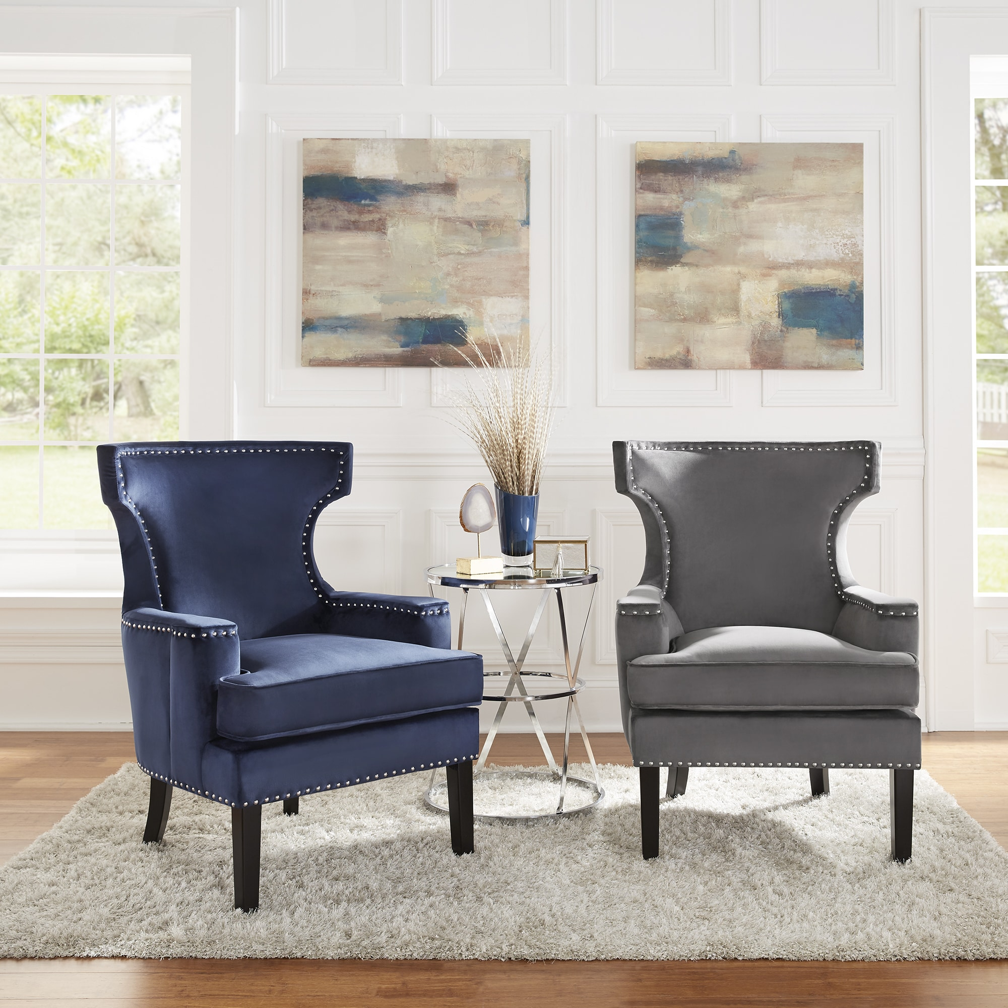 Livie Velvet Accent Chair With Nailhead Trim By Inspire Q Bold Ebay