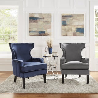 Livie Velvet Accent Chair with Nailhead Trim by iNSPIRE Q Bold