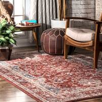 nuLOOM Red Traditional Classical Lavish Versaille Blooming Faded Frame Area Rug - 8' x 10'
