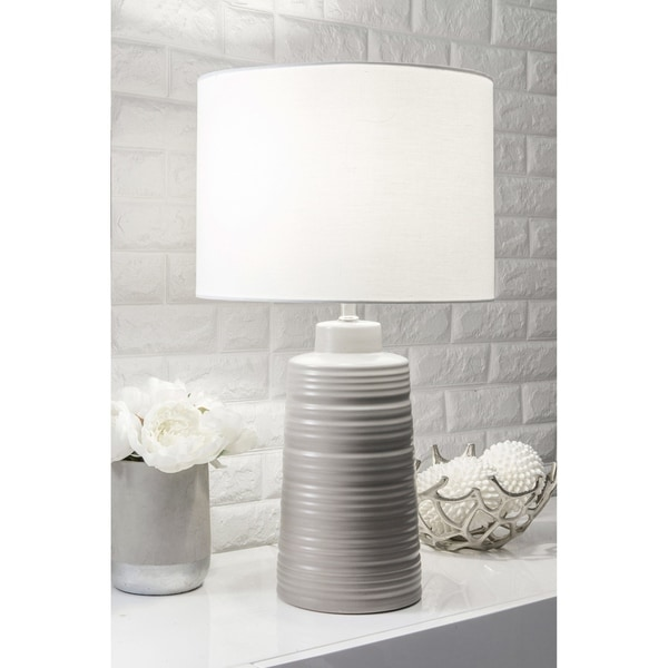"""Watch Hill 27-inch Uriel Ceramic Gray Linen Shade Table Lamp - 14"""" h x 8"""" w x 8""""d"""
