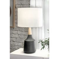 "Watch Hill 28-inch Jenna Black Ceramic & Wood Linen Shade Table Lamp - 17"" h x 8"" w x 8""d"