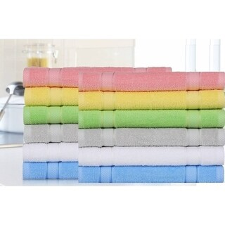 "Chama Cotton Soft and Luxury Washcloths Set of 12-Pieces Size 13""x 13"""