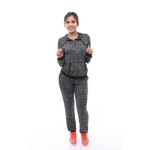 Women's Gray 2Pcs Tracksuit Hoodie Sweatshirt Pants Set Sportswear