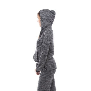 Women's Gray 2Pcs Tracksuit Hoodie Sweatshirt Pants Set Sportswear