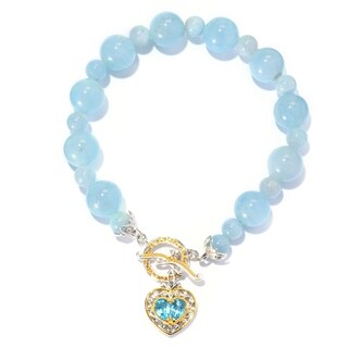 Michael Valitutti Palladium Silver Aquamarine, Swiss Blue Topaz & Heart Charm Toggle Bracelet