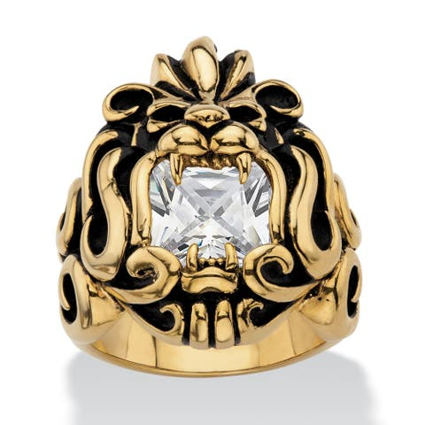 Men's Gold Ion-Plated Stainless Steel Cubic Zirconia Lion's Head Ring