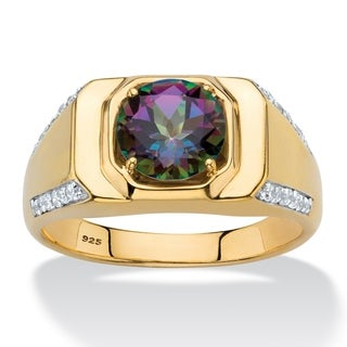 Men's Gold over Sterling Silver Mystic Fire Topaz and CZ Ring