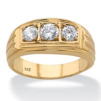 Men's Yellow Gold over Sterling Silver Round Ring Cubic Zirconia