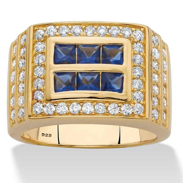 c0c5e41bd Shop Men's Gold over Sterling Silver Sapphire and Cubic Zirconia Ring - On  Sale - Free Shipping Today - Overstock - 22676952