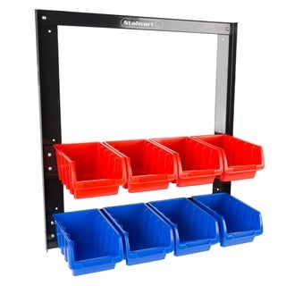 8 Bin Storage Rack Organizer- Wall Mountable Container with Removeable Drawers Stalwart