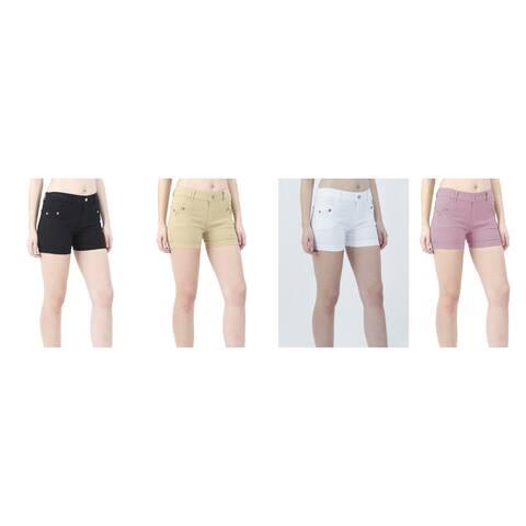 INDERO Women's Super Strech Rolled Cuff Shorts