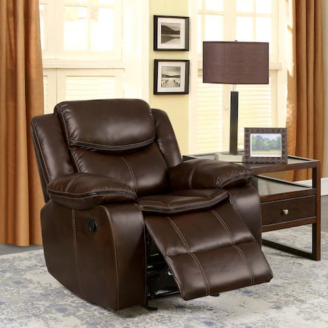 Furniture of America Lage Transitional Brown Faux Leather Recliner