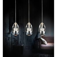 Chrome-finished Stainless Steel 3-light Modern Hanging Chandelier