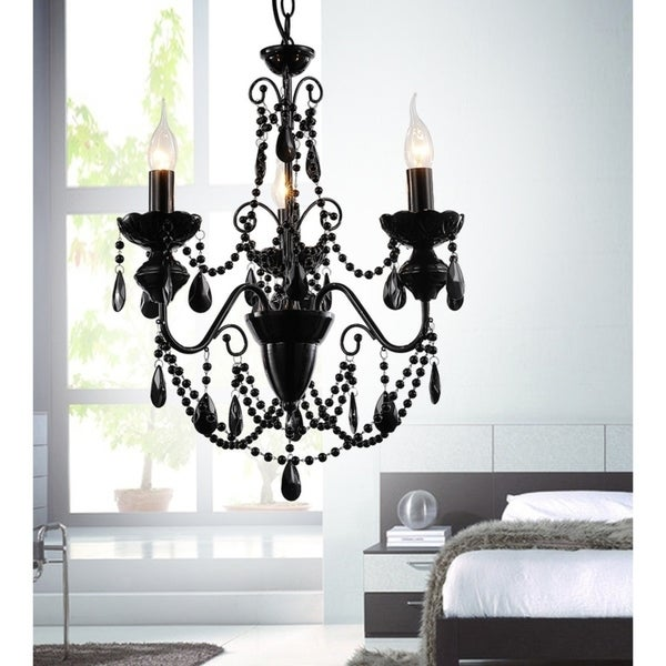 The Curated Nomad Boruss 3-light Black Beaded Chandelier