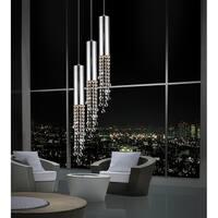 Chromed Stainless Steel Crystal 3-Light Mini Pendant Light