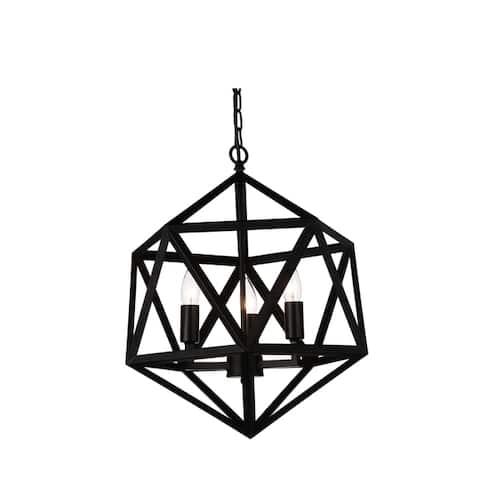 The Gray Barn Bonnyview 3-light Geometric Chandelier with Black Finish