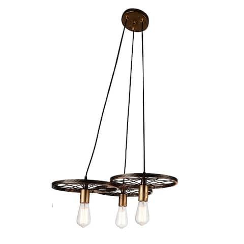 Carbon Loft O'Shea 3-light Black and Gold Chandelier