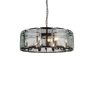 12 Light Chandelier with Black Finish and Clear Crystals