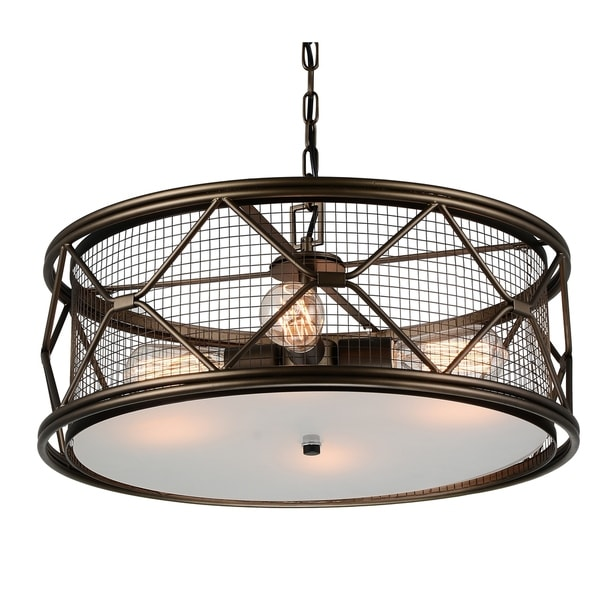 The Gray Barn Stony Creek 4-light Drum Chandelier with Golden Brown Finish