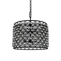 10 Light Chandelier  with Black Finish and Clear Crystals