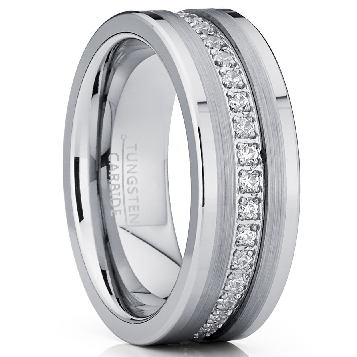 Tungsten Carbide 6mm Wedding Bands For Men Matte Finished High Polish CZ Ring Size 10