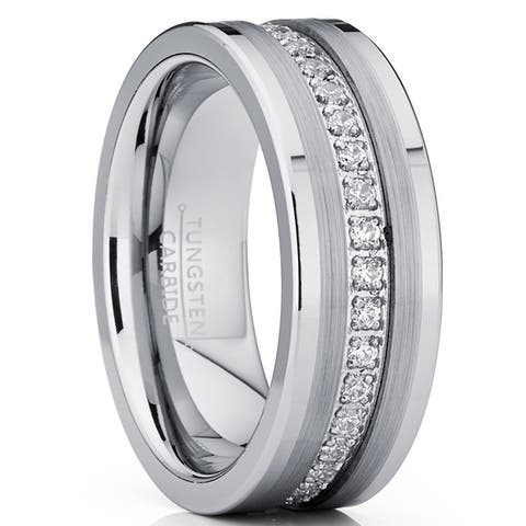 Oliveti Tungsten Carbide Wedding Band Eternity Ring, Cubic Zirconia Inlay Comfort Fit 8mm