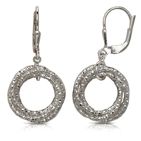 Curata 925 Sterling Silver Diamond-cut Triple Circle Dangling Leverback Earrings (15mm x 35mm)