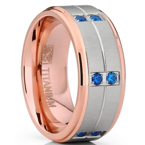 Oliveti RoseGold Titanium Wedding Band Ring with Blue Cubic Zirconia Comfort Fit 9mm