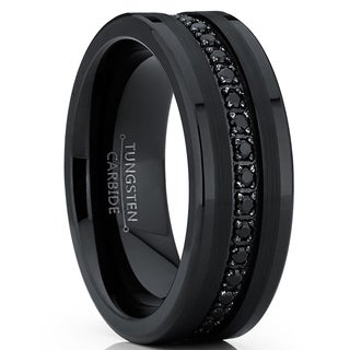 Oliveti Tungsten Carbide Black Wedding Band Eternity Ring, Cubic Zirconia Inlay Comfort Fit