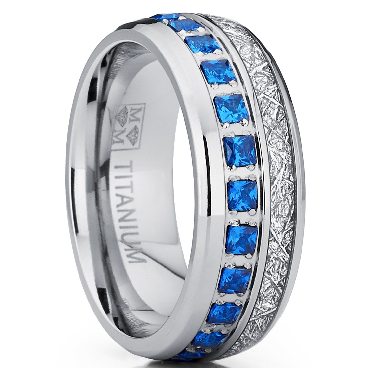 It is just a picture of Oliveti Titanium Wedding Band Imitation Meteorite Engagement Ring Blue Cubic Zirconia 44mm