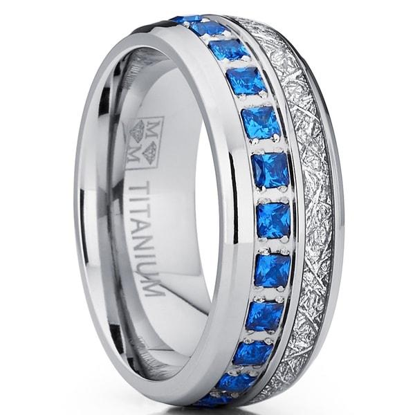 Oliveti Anium Wedding Band Imitation Meteorite Engagement Ring Blue Cubic Zirconia 8mm
