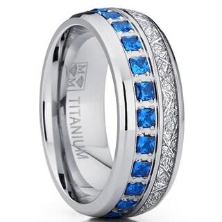 Oliveti Titanium Wedding Band Imitation Meteorite Engagement Ring Blue Cubic Zirconia 8mm