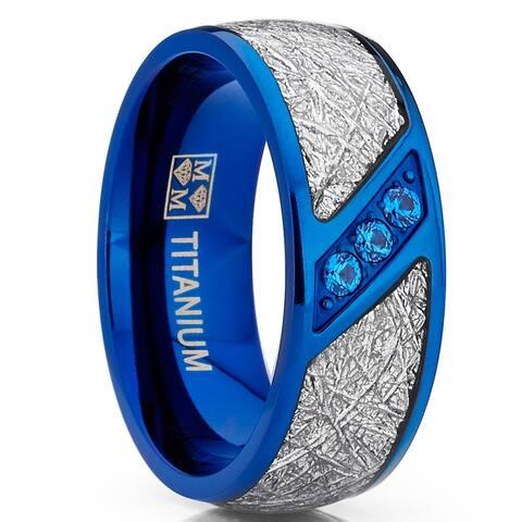 Oliveti Blue Titanium Wedding Band Imitation Meteorite Ring Blue Cubic Zirconia 8mm