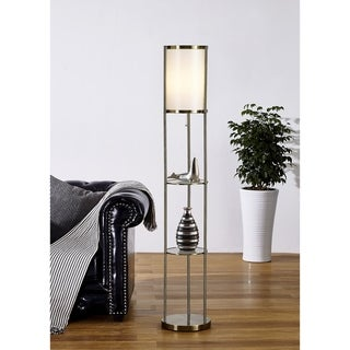 "Artiva USA Exeter 63"" Antique Brass Shelf Floor lamp - Gold/Satin Brass"