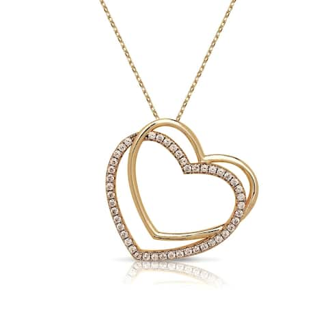Curata 18-Inch 925 Yellow Gold-plated Sterling Silver AA Cubic Zirconia Polished Sideways Open Heart Necklace (30mm)