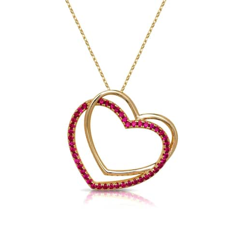 Curata 18-Inch 925 Yellow Gold-plated Sterling Silver Created Ruby Polished Sideways Open Heart Necklace (30mm)