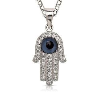 Curata 925 Sterling Silver 16-inch Pave Cubic Zirconia Enamel Evil Eye Hamsa Necklace Pendant (10mm x 26mm)