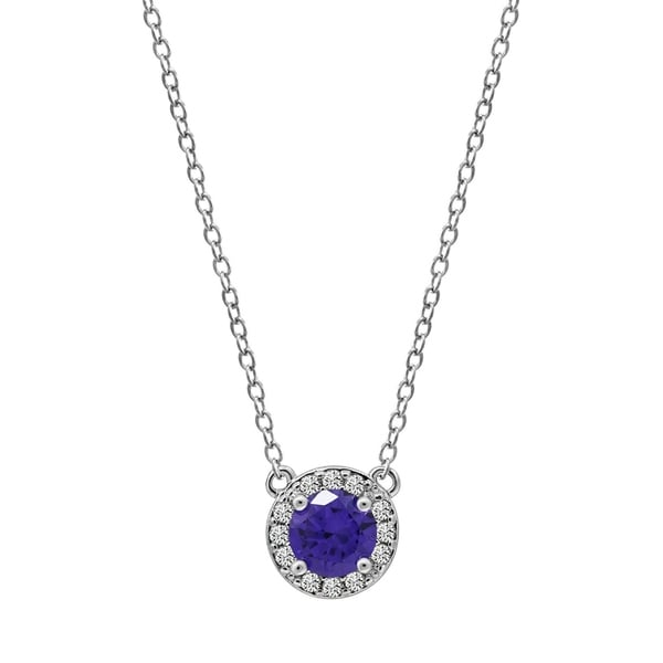 47576a8309 Platinum Plated Brass Created Sapphire Round Halo Birthstone Pendant  Necklace -September