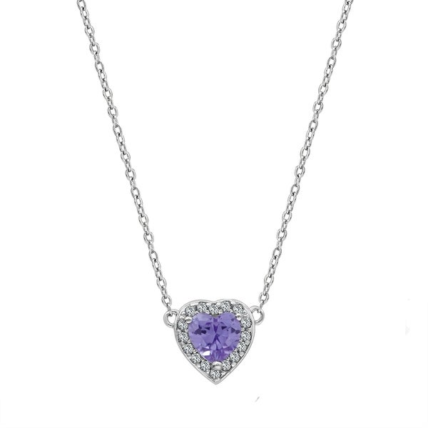 655f6ae97d Platinum Plated Brass Created Alexandrite Heart Halo Birthstone Pendant  Necklace - June