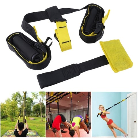 Home Gym Hanging Yoga Fitness Band Exercise Resistance Strength Training Strap - yellow&black