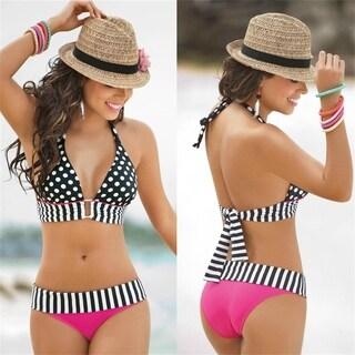 High Waisted Vintage Fringe Vintage Bikini Swimsuit Bathing Swim Polka Dots Dot