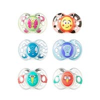 Tommee Tippee Animal Faces Pacifier 6 Pack, 6-18 Month