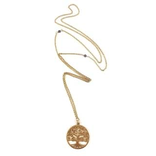 """Handmade Rebecca Cherry Hand Made Delicate 14k Gold Tree of Life Pendant Necklace 28"""" - Yellow"""