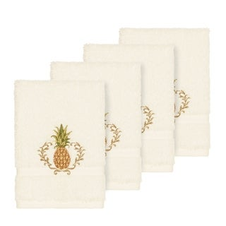 Authentic Hotel and Spa Turkish Cotton Pineapple Embroidered Cream 4-piece Washcloth Set