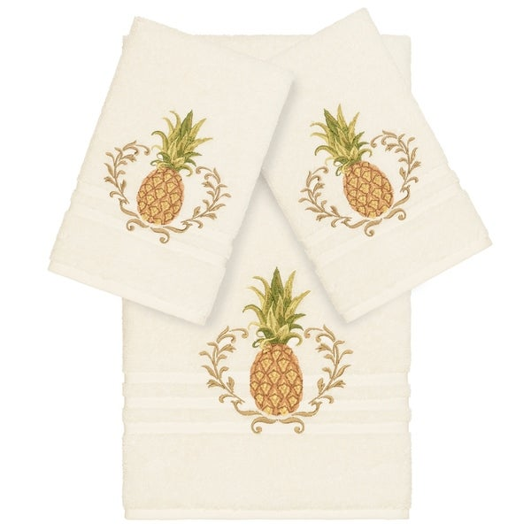Authentic Hotel and Spa Turkish Cotton Pineapple Embroidered Cream 3-piece Towel Set