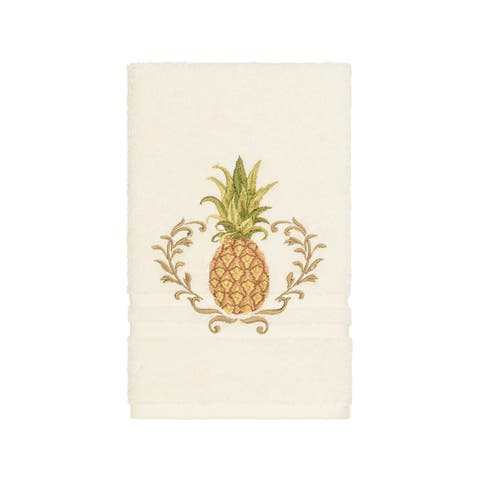 Authentic Hotel and Spa Turkish Cotton Pineapple Embroidered Cream Hand Towel