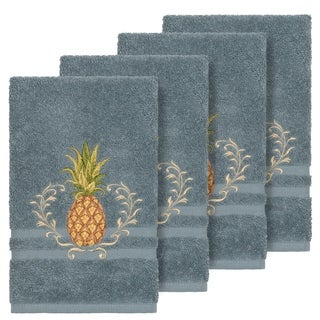 Authentic Hotel and Spa Turkish Cotton Pineapple Embroidered Teal Blue 4-piece Hand Towel Set
