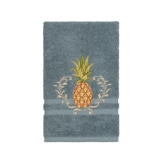 Authentic Hotel and Spa Turkish Cotton Pineapple Embroidered Teal Blue Hand Towel