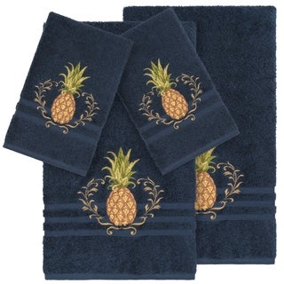 Authentic Hotel and Spa Turkish Cotton Pineapple Embroidered Midnight Blue 4-piece Towel Set